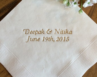 50 Personalized Napkins Personalized Napkins Wedding Personalized Cocktail Beverage Paper Anniversary Party Monogram Custom Luncheon Avail!