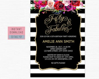 50th birthday invite etsy 50th birthday invitations instant download fifty and fabulous invitation 50th birthday invitations for women filmwisefo