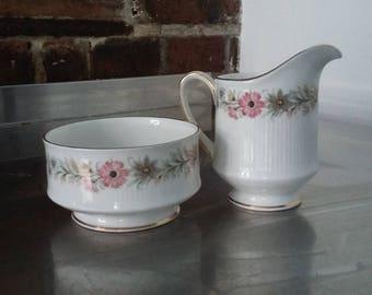 Vintage Paragon Bone China Jug and Sugar Bowl Belinda Pattern Flowers
