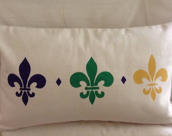 Fleur De Lis Pillow/300th celebration of Nola/300 years/Tricentennial of New Orleans/Celebrate Nola/Birthday Gift/Wedding Gift