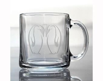 Penguin Coffee Mug / Personalized Coffee Mug / Free Personalization / 13 oz Glass Coffee Mug / Personalized Gift / Hot Chocolate Mug