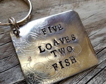 Five Loaves Two Fish  Stamped Metal Tag repurposed silver plated tray made into a Charm Key Chain
