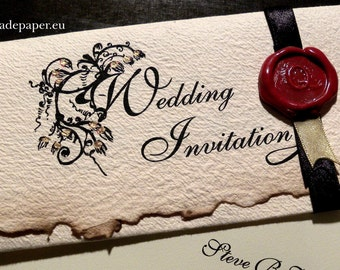 For Amanda - Old English Style, Renaissance, Vintage, Old fashioned, Personalized Wedding Invitations with wax seals