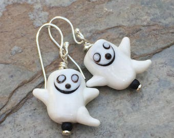 Ghost Earrings, Cute Halloween Earrings, 1.25 inches long