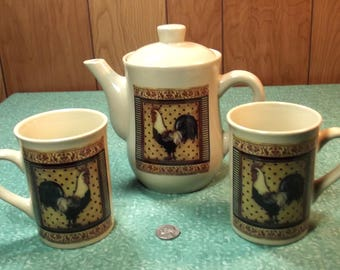 Beautiful Vintage Bay Island Inc. Rooster Brand Tea / Coffee Serving Set - Farm / Country Decor