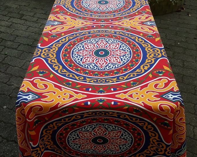 Tablecloth khayameya simple rectangle mandala arabesque red cotton fabric ethnic ramadan lotus flower wall Arabic wedding hostess gift