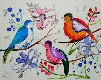 SALE - Tweet Tweet Tweet - Original Watercolour Painting Birds & Flowers