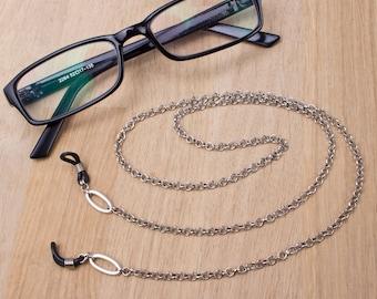 Gents silver eyeglass chain - Belcher chain oval link glasses lanyard   Eyewear neck cord   Mens Sunglasses chain   Eyeglasses holder