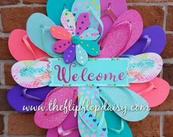 Adorable Welcome Flip Flop Wreath Beach Door Decor Patio Coastal Hearts Glitter