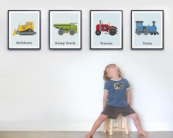 Toddler room wall art, Set of four prints, Transportation print set, Big boys room, Boys wall art, Boys truck decor, Tractor wall art