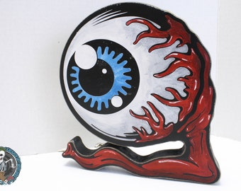 Gnarly Eyeball Hand Painted Wood Cut Desk Decoration