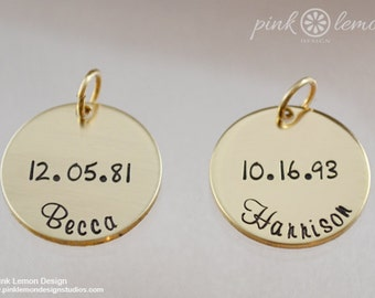 Personalized Charms - Name Charms - Bridle Tags - Gold Name Charms - Personalized Jewelry - Name Charm Necklace Charms - Pink Lemon Design