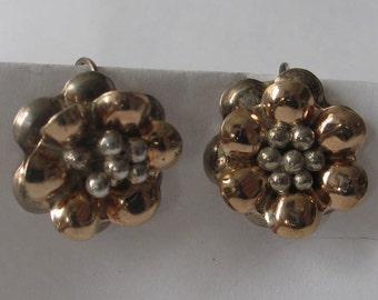 SALE Vintage Flower Sterling Screw on Earrings