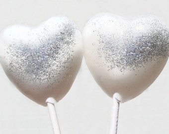 Valentine's Day White and Silver Hearts Wedding Favor Lollipops, Set of 6, Valentine's Day, White Wedding Favors, Silver Wedding Favors