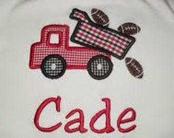 Football Dump Truck Applique Shirt