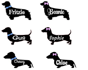 Personalized Dachshund Decals Long haired/Short haired Dachshunds with Bows