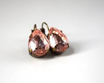 Blush Pink Crystal Earrings, Light Pink Rhinestone, Marie Antoinette, 18th Century, 19th Century, Vintage Pink Earrings, Georgian Paste Pink