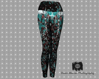 Sumac Abstract Yoga Leggings, Funky Abstract Art Printed Leggings, Yoga Pants, Tights, Designer Art Leggings For Women, FREE SHIPPING