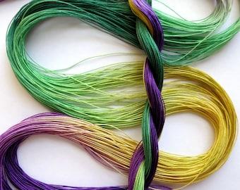 "Size 80 ""Mardi Gras"" hand dyed tatting thread 6 cord cordonnet crochet cotton"