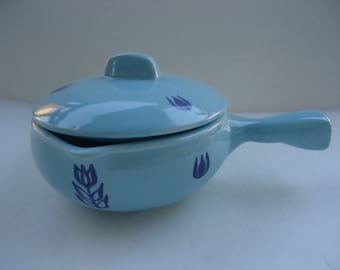Cameron Pottery Blue Tulip Covered Dish