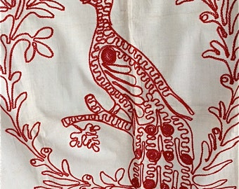 Vintage Red-work Embroidered Pillow Sham