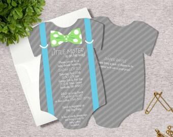 Little Mister Baby Shower Invitation   Bow Tie Suspenders Invite   Printed Die Cut Invitation   Baby Bodysuit