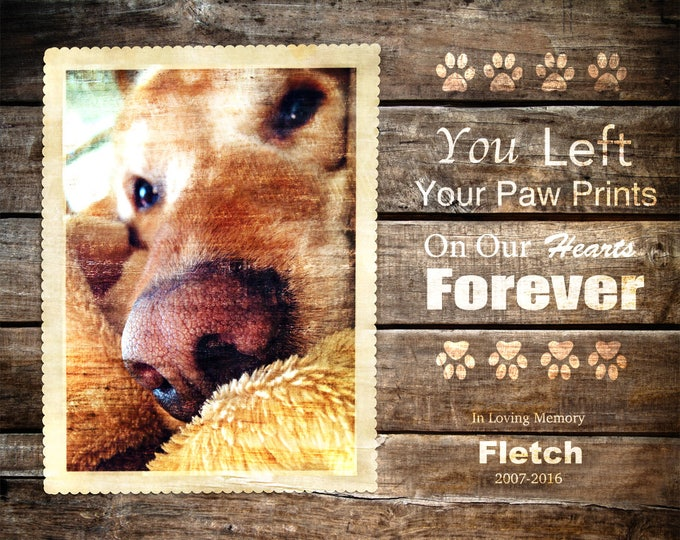 Pet Memorial Pet Remembrance REAL WOOD print Custom Gift Pet Dog Cat Kitten Horse from Your Photograph 16x20