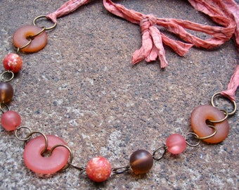 Eco-Friendly Silk Ribbon Statement Necklace - Mellifluous - Recycled Vintage Beads and Unfinished Sari Silk Ribbon in Oranges and Browns
