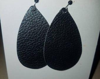 Black faux leather small teardrop earrings