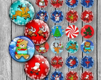 "Christmas Bottle cap images 1.837 inch for 1.5"" buttons 1 inch 1.5 inch Printable Images Digital Collage Sheet Instant Download"