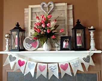 Valentine Banner, Valentines Day Burlap Banner Bunting, Valentine decor, Valentines Day decoration, Valentine Bunting, Heart Banner, Hearts