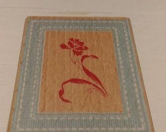 Retired Rubber Stamp  -   Flower in Frame