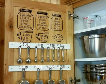 Kitchen Equivalent / Measurement Conversion Chart Mason Jar Decal Set - Great Gift Idea! Full Set - Includes Cup & Spoon labels!