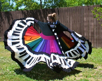 Upcycled Rainbow Sweater Coat with a Medieval Liripipe Hood by SnugglePants- Extra Long- CUSTOM
