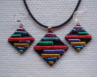 Multicolour set in dichroic glass & sterling silver