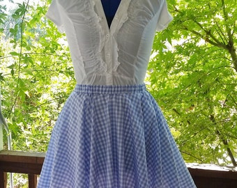 Blue Gingham Circle Skirt Dorothy Costume Adult Size Child Size Custom Wizard of Oz costume Full Skirt