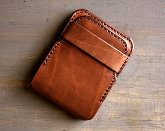 Handmade Leather Wallet - Slim Mens Wallet Minimalist - Front Pocket Bifold - Engraved Monogram Wallet - Personalized - Thin Card Holder