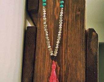 Long wood bead tassel necklace