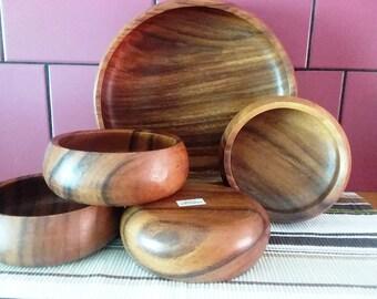 5 Piece Wood Teak Bowl Serving Salad Set, Vintage 1960-1970, made in Philippines