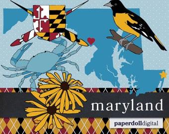 Maryland Clip Art Instant Download - Oriole Clip Art - Black-Eyed Susan Clip Art - Blue Crab Clip Art - Vector Illustrations