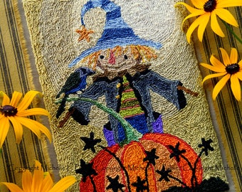 Scarecrow Pumpkin Stars Harvest Crow Bird Blackbird Punch Needle Embroidery DIGITAL Jpeg and PDF PATTERN Michelle Palmer Painting w/Threads