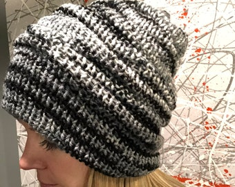 Adjustable Reversible Slouchy Hat Beanie Black White Gray