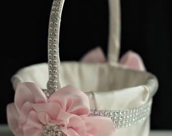 Blush Pink Basket / Blush Flower Girl Basket / Blush Wedding Basket Pillow Set Blush pink Wedding Basket Blush Petals basket ceremony basket