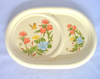 Vintage Pottery Craft Ceramic Divided Plate, Butterfly and Flowers