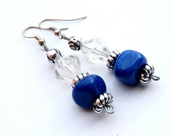 Blue silver white dangle earrings Long silver Blue earrings Elegant Boho Blue pearls earrings Elegant earrings Unique earrings Gift for her