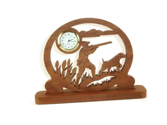 Duck Hunter And Hunting Dog Desk Clock Handmade From Cherry Wood By KevsKrafts NFB-1
