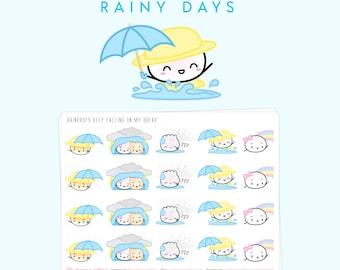 "Rainy Day Stickers - ""Raindrops Keep Falling On My Bread"" [Rain Stickers, Umbrella Stickers, Thunder Stickers] - S311"