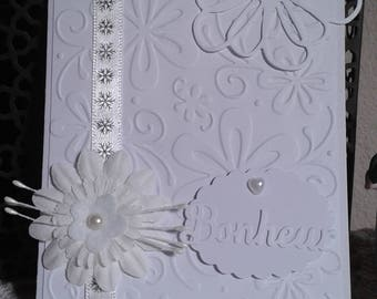 Wedding congratulations card monochrome white flower
