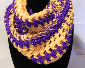 College Football Chunky Infinity Cowl Scarf in Purple and Gold