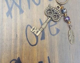 Owl skeleton key keychain